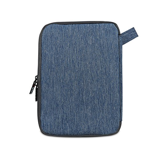 BUBM Double Layers Handy Travel Gadget Organizer, Electronics Accessories Bag for iPad Mini and Tablet with Handle, Medium, Denim Blue