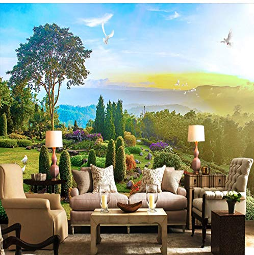 (Mural Wallpaper 3D Pastoral Landscape Forest Steppe Sea Photo Wall Murals Living Room Study Self-Adhesive Fresco)
