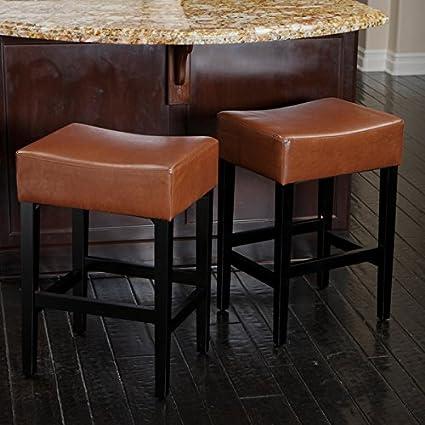 Amazoncom Lopez 27 Inch Backless Hazelnut Leather Counterstools