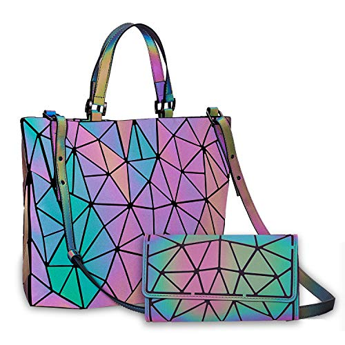 Harlermoon Geometric Luminous Holographic Purses and Handbags Flash Reflactive Tote for Women ... (Handbag with Purse)