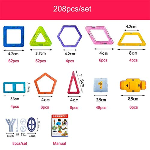 PPH3 Shine 100-298Pcs Blocks Magnetic Designer Construction Set Model & Building Toy Plastic Magnetic Blocks Educational Toys for Kids Gift (208 Pcs)
