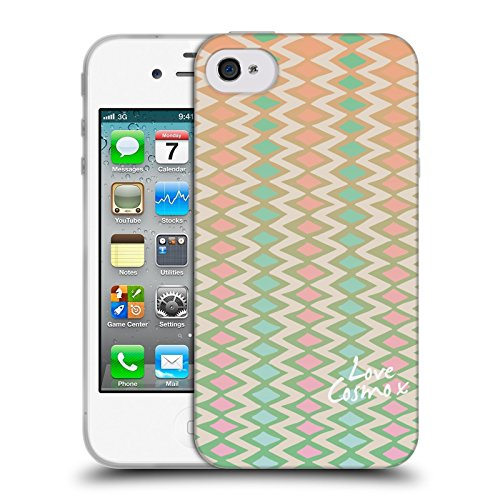 Official Cosmopolitan Pretty Ikat Pastels Soft Gel Case for Apple iPhone 4 / 4S