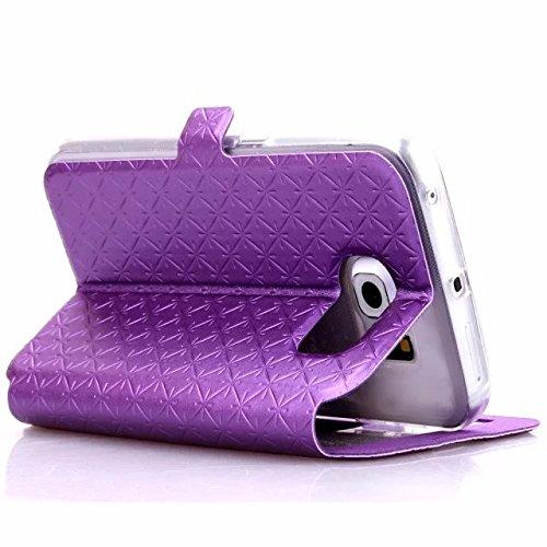 Wkae Case Cover Caso de cuero cuadrado del enrejado de diamante patrón PU cubierta de la caja de la ventana del caso del soporte con la ranura para tarjeta para el borde de Samsung S6 ( Color : Purple Purple