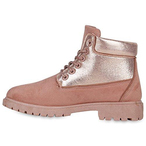 Stiefelparadies Damen Stiefeletten Outdoor Worker Boots Leicht Gefütterte Schuhe Flandell Rosa Glitzer