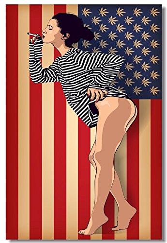 1x Poster Fabric Cannabis Marijuana Leafs USA Flag Psychedelic Green Woman Statue of Liberty 35.5x23.5 (90x60cm) (020)