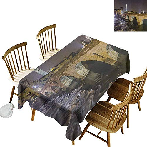 Verona Clear Table (DONEECKL Landscape Wrinkle Free Tablecloth Indoor and Outdoor Tablecloth Ponte Pietra on River Adige Ancient Roman Bridge in The Old Town of Verona Italy Black Beige W60 xL84)