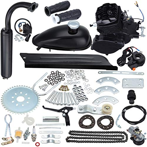 Sange 2 Stroke Pedal Cycle Petrol Gas Motor Conversion Kit Air Cooling Motorized Engine Kit for Motorized Bike (50cc Black)