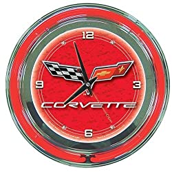 Trademark GM1400R-C6 14 Inch Neon Wall Clock With Official Corvette Logo