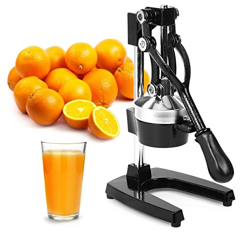 Heavy Duty Oil Filter Crusher - Zulay Professional Citrus Juicer - Manual Citrus Press and Orange Squeezer - Metal Lemon Squeezer - Premium Quality Heavy Duty Manual Orange Juicer and Lime Squeezer Press Stand, Black