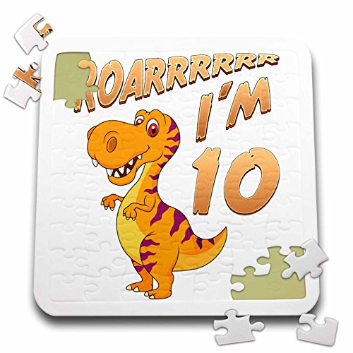 Carsten Reisinger - Illustrations - Birthday Dinosaur Roarrrrrr I am 10 Years Old Congratulations Party - 10x10 Inch Puzzle (pzl_261520_2) by 3dRose