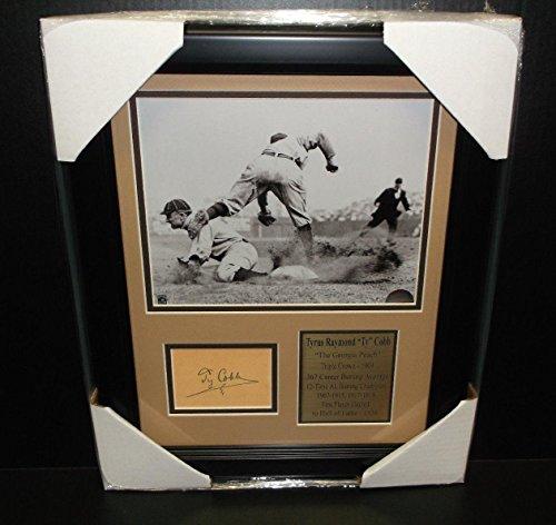 Autographed Ty Cobb Photo - Cut Facsimile Reprint Framed 8x10 - Autographed MLB Photos - Ty Cobb Autograph