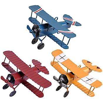 Ezakka Airplane Decor Hanging Airplane Ornament Vintage Mini Metal Airplane Toys Decorations Model Aircraft Biplane Pendant For Boys Room Photo