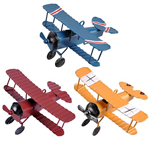 (eZAKKA Airplane Decor Vintage Mini Metal Decorative Airplane Model Hanging Wrought Iron Aircraft Biplane Pendant Toys for Photo Props, Christmas Tree Ornament, Desktop Decoration, 3 Color-Pack)