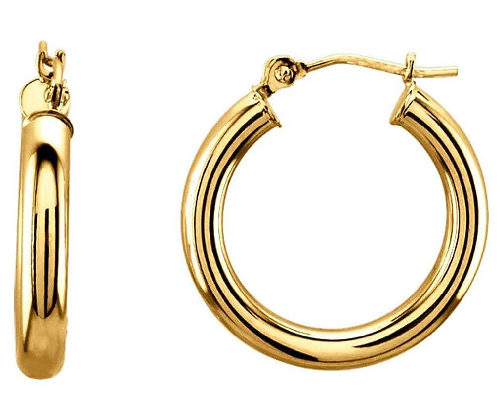 14K Yellow Solid Gold 3mm Hinged 20mm 13//16 Diameter Hoop Earrings