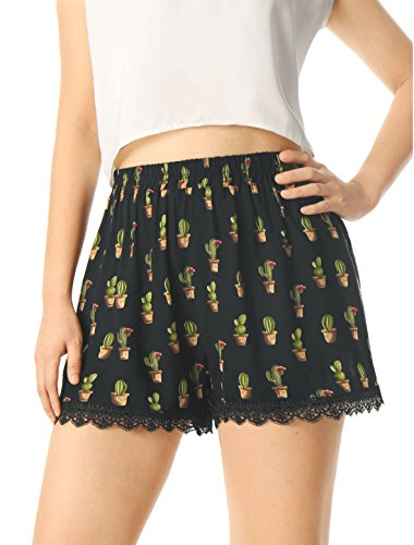 Allegra K Womens Allover Printed Lace Trim Elastic Waist Summer Shorts Black-Cactus Print XS (US 2)