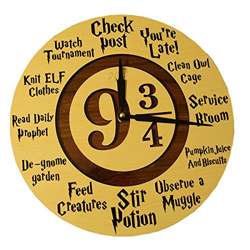 HT Platform 9 ¾Harry Potter Wall Clock By Handmade Wooden Timepiece For HP Fans &Enthusiasts –MagicalDecorative Piece For Your Home, Bedroom, Office –PerfectUnisex Gift For Kids, Teens &Adults (Clock Office Post)