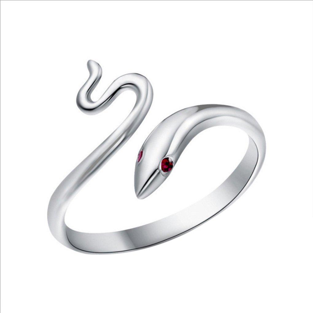 Bobury Donne argento placcato l'anello di barretta di apertura Bright Red Eye serpente dell'anello