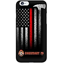 "Thin Red Line Fire Fighter Department -Rubber Case for Apple iPhone 6, 6S (4.7"" screen), Made and Shipped from USA and delivered within 8 Days. Includes screen protector . Style 74"
