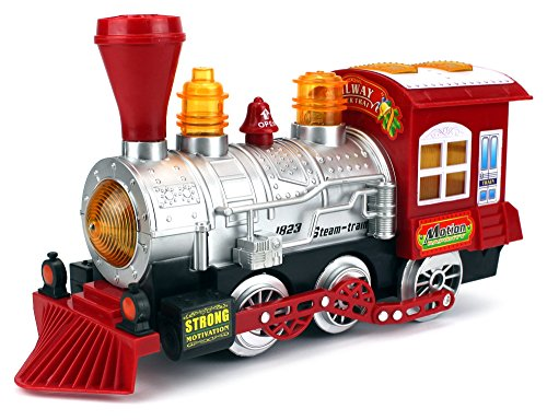 Velocity Toys Steam Train Locomotive Engine Car Bubble Blowing Bump & Go Battery Operated Toy Train w/Lights & Sounds