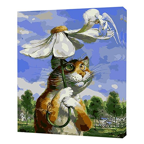 Fairylove 40×50 Paint by Numbers for Adults DIY Oil Painting, Umbrella Cat