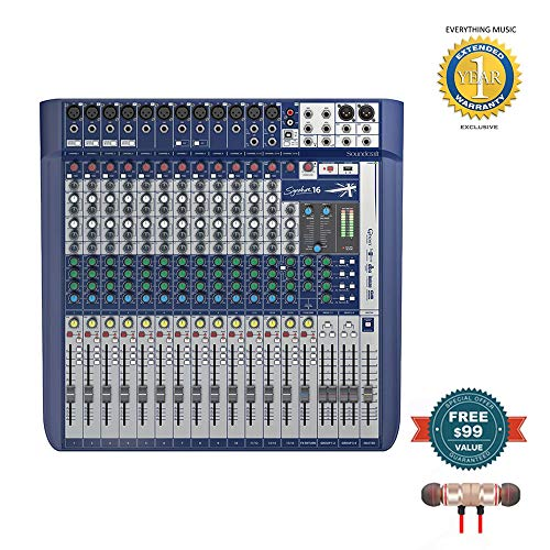 Soundcraft Signature 16 16-Input Mixer with Effects includes Free Wireless Earbuds - Stereo Bluetooth In-ear and 1 Year Everything Music Extended Warranty