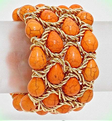 Orange Heavy Turquoise Coral Cuff Wide Chunky Costume Stone Bracelet for Women 6.5