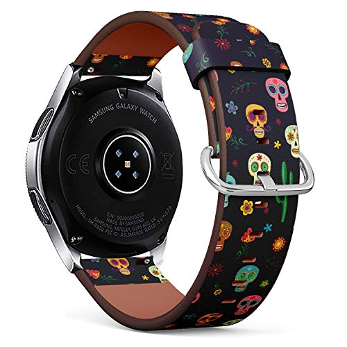 S-Type Replacement Leather Strap Printing Wristbands Compatible with Samsung Galaxy Watch 42mm 46mm Watch Band - Mexican Sugar Skull, Cactus and Flower on Wallpaper The Day of The Dead