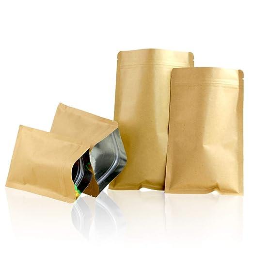50 bolsas de papel kraft de aluminio color marrón con cierre ...
