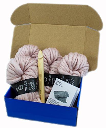 Super Soft Chunky Yarn Crochet Afghan Blanket Kit with Jumbo Hook US50/ 25MM (Dusty Pink) by Rising Phoenix Industries