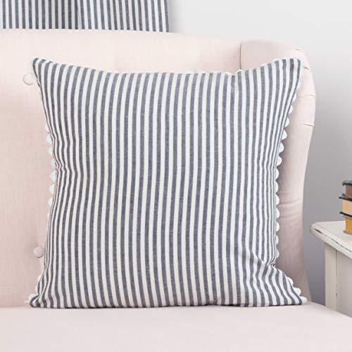 Piper Classics Farmhouse Ticking Stripe Pillow Cover, Blue, 18