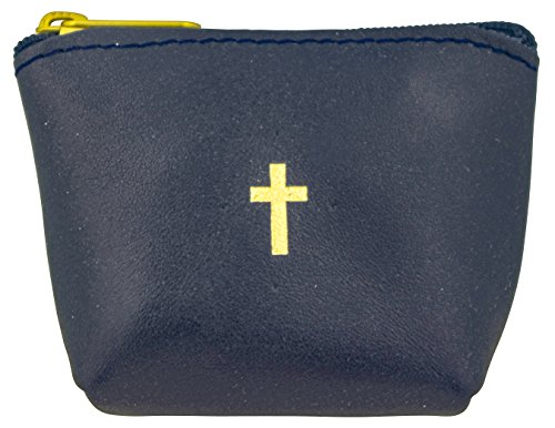 Genuine Italian Leather Rosary Pouch (Navy Blue) by Venerare