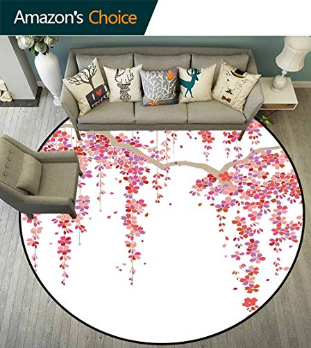 House Decor Round Rug for Kids Room,Cherry Blossom Trees Branch Springtime Happy Vacation Traveling Destinations Non Slip Absorbent,D-63