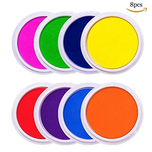 Lsushine Craft Large Ink Pad Stamps Partner Diy Color,8 Colors Rainbow Finger Ink pad for kids (pack of 8) (Stamp Pad Washable Rainbow)
