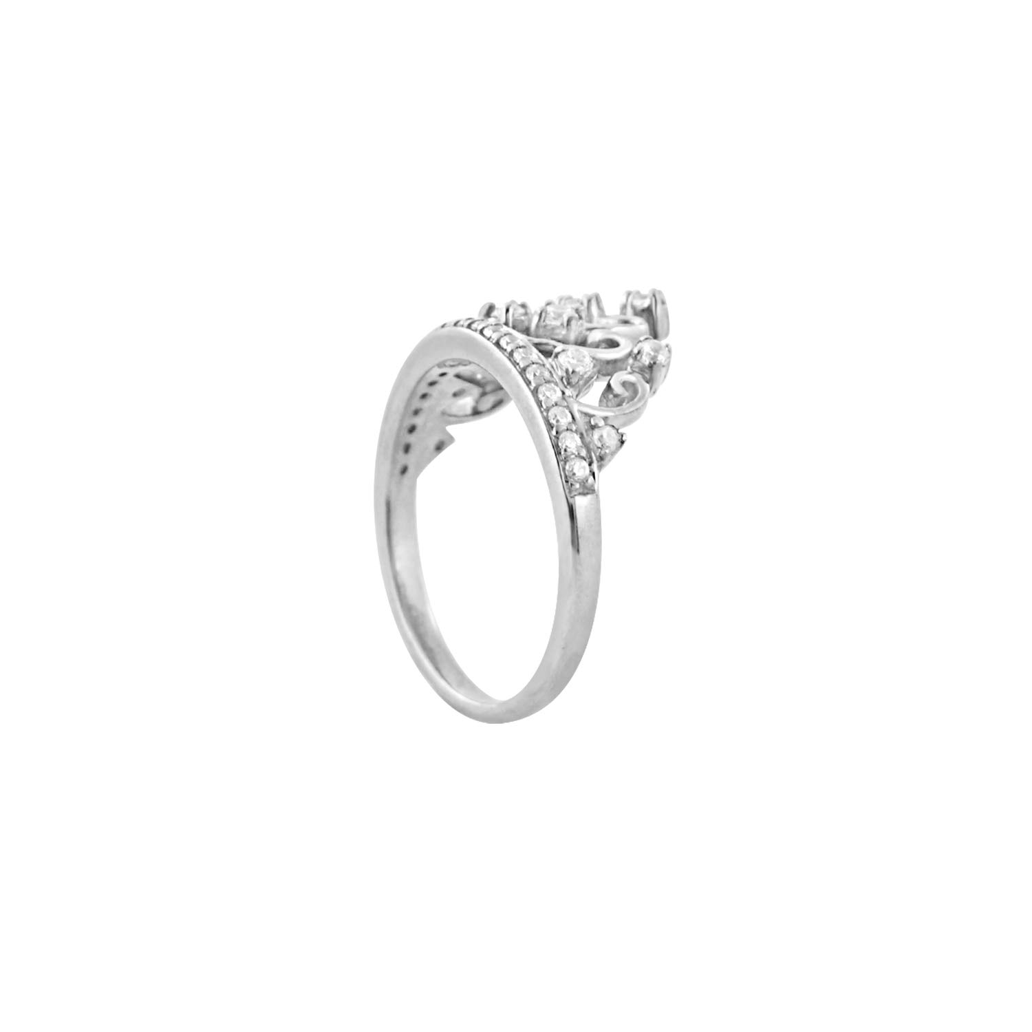 Diamond Scotch Round White Cubic Zirconia Tiara Princess Queen Crown Ring Best for Women Girls in 14k White Gold Over by Diamond Scotch (Image #4)