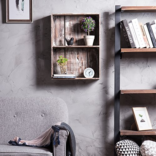 MyGift 24-Inch Rustic Torched Wood Crate Floating Display Shelf by MyGift (Image #1)