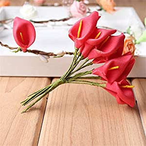Big-Deal_72pcs/lot PE Foam Calla Lily Flower Bouquet Artificial Flower for Home Garden Craft Wreath Wedding Birthday Party Decoration - (Color:7) 25