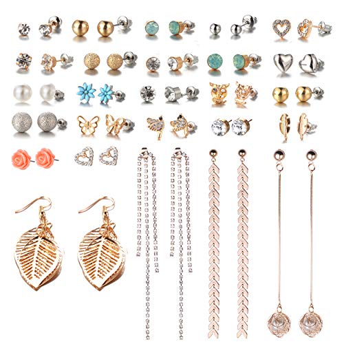 - 26 Pairs Assorted Multiple Stud Earrings Set for Women Simple Hoop Earring Set Leaf Flower Tassel Crystal tassel post Earring(Color-1)