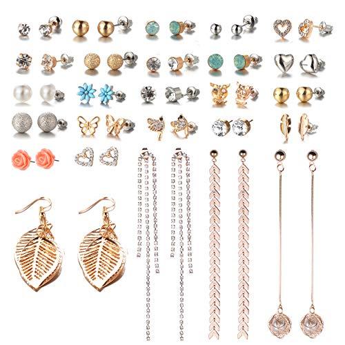 26 Pairs Assorted Multiple Stud Earrings Set for Women Simple Hoop Earring Set Leaf Flower Tassel Crystal tassel post Earring(Color-1)