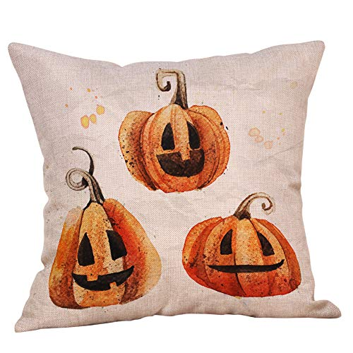 iYBUIA Holiday Decoraction Halloween Pillow Cases Linen Sofa Pumpkin Ghosts Cushion Cover Home Decor ()