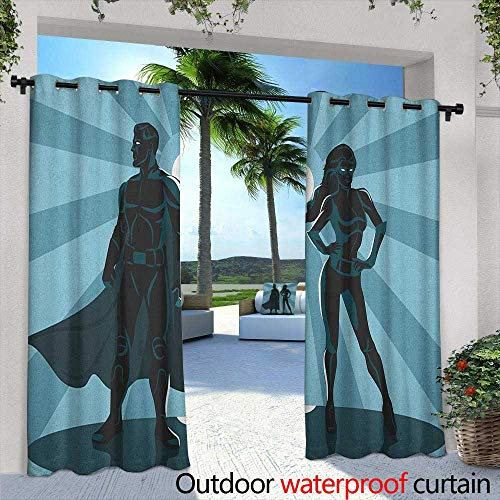 Superhero Outdoor Grommet Window Curtain Man and Woman Superheroes Costume with Masks Capes Night Protector in Moonlight Darkening Thermal Insulated Blackout 84