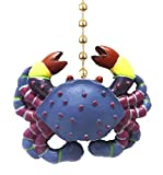 Whimsical Blue Crab Tiki Bar Dining Fan Light Pull Chain by Clementine Designs