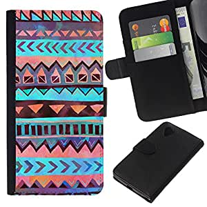 KLONGSHOP // Tirón de la caja Cartera de cuero con ranuras para tarjetas - Patrón Tribu india de Orange - LG Nexus 5 D820 D821 //