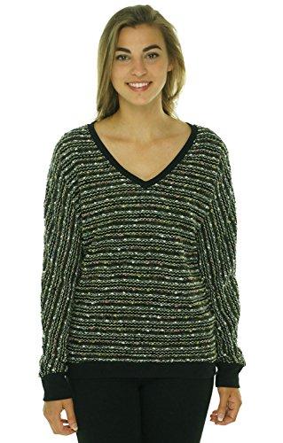 Sanctuary Women's Long Sleeve V-Neck Marled Knit Sweater Black - Sweater V-neck Marled