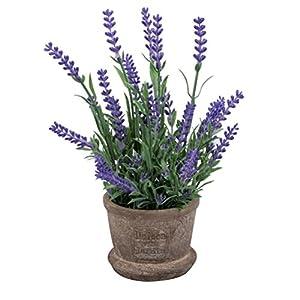VORCOOL Artificial Flowers Plastic Lavender Arrangements in Pots for Home Garden Decor (Purple)