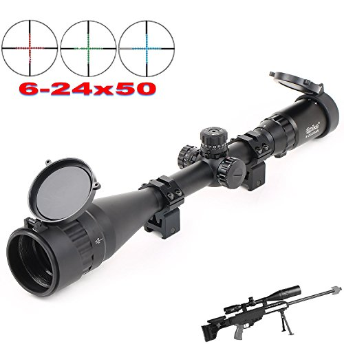 Red Cross Scope (Vokul® Riflescope 6-24x50mm Optics Hunting AOE Red & Green& Blue Mil-dot Reticle Illuminated Crosshair Adjustable Intensified Rifle Scope with Free Mounts and Lens Cover Illuminated Level: 5 Intensity (Red) and 5 Intensity (Green))