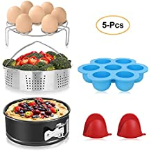 BAYKA Instant Pot Accessories Set with Stainless Steel Steamer basket, Non-stick Springform Pan, Egg Bites Molds, Steamer Rack, Mini Mitts, Fits 6,8 Qt Instant Pot, Ideal 5 pcs Set for Pressure Cooker
