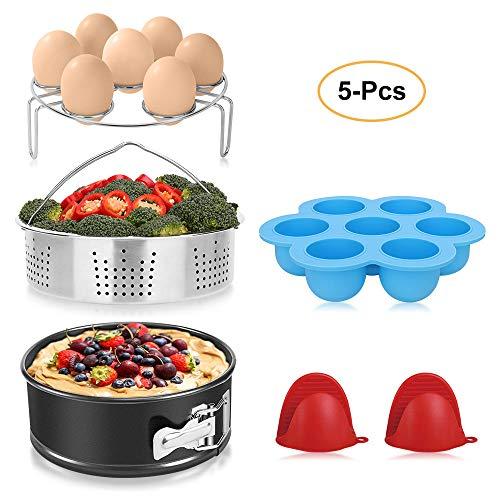 BAYKA Instant Pot Accessories Set with Stainless Steel Steamer basket, Non-stick Springform Pan, Egg Bites Molds, Steamer Rack, Mini Mitts, Fits 6,8 Qt Instant Pot, Ideal 5 pcs Set for Pressure Cooker
