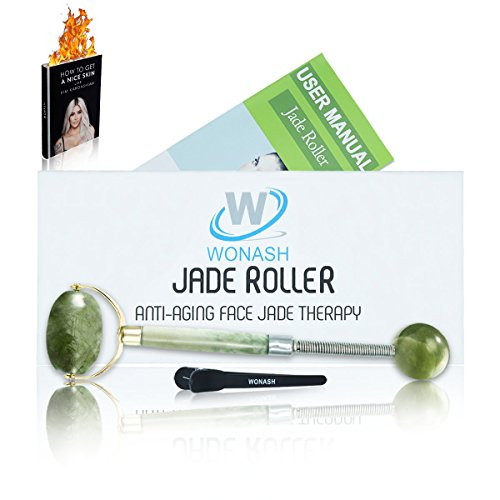 Top Rated Jade Roller for Face by Wonash   100% Natural Jade Stone   Bonus Ebook   100% Handmade   Anti-Aging, Anti-Wrinkle Beauty Skincare Tool   for Face, Neck & Eyes