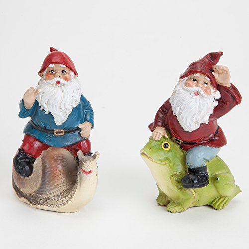 Bits and Pieces - 2 Hand Painted Polyresin Gnome Sculptures For Your Fairy Garden - Create Your Own Woodland Fairy - Polyresin Decorations Hand Painted