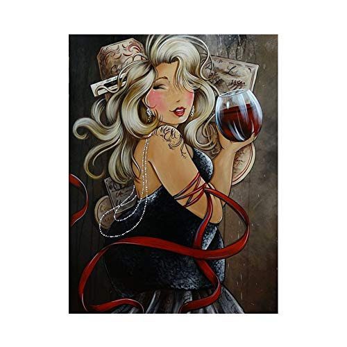 BeimYcW 30x40cm Fat Lady Drink Wine Stitch Craft DIY Mosaic Full Round Diamond Painting Rhinestone Embroidery Supply Arts Canvas Wall Decor k125 (Best Drinks For Ladies)